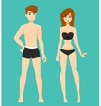Beautiful cartoon nude couple fashion vector image vector image