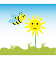 bee and flowers vector image