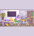 bike tourism equipment flat composition vector image