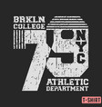 brooklyn nyc college t-shirt textured stamp vector image vector image