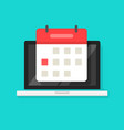 calendar or agenda on laptop computer screen vector image vector image