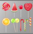candies lollypops realistic transparent vector image