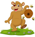 cartoon bear holding beehive on grass vector image vector image