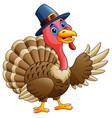 cartoon happy turkey presen vector image