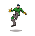 cartoon super hero kicking vector image vector image