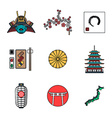 colored outline various japanese icons set vector image vector image