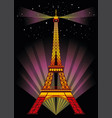 colorful eiffel tower in night vector image vector image