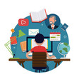 cool flat design round element on student vector image