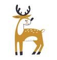 cute deer with antlers deer in scandinavian vector image vector image