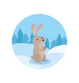 cute hare on the background of winter landscape vector image