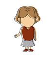 cute little girl child standing cartoon vector image vector image