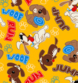 Cute puppy dogs in a seamless pattern vector image