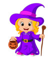 cute young witch vector image vector image