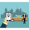 driver taxi service online app city background vector image