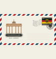 envelope with postage stamp with brandenburg gate vector image