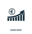euro rate increase graphic icon mobile apps vector image vector image