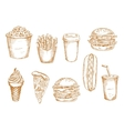 Fast food and desserts sketches vector image vector image