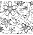 Flowers pattern coloring vector image vector image