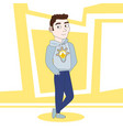 friendly young man in casual clothes cartoon vector image