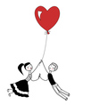 Girl and boy holding the string of flying red hear vector image vector image