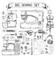 hand drawn sketch big sewing set vector image