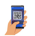 hand holding smartphone with qr code scanner vector image vector image