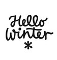 hello winter hand drawn lettering phrase winter vector image vector image