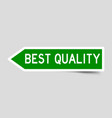 label sticker in green color arrow shape as word vector image