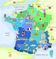 Map of France with landmarks vector image