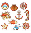 Marine set orange colors vector image