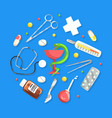 medical supplies and equipment in circular shape vector image vector image