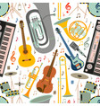 Musical seamless pattern made of different musical