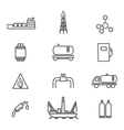 Natural gas line icons set vector image vector image