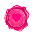 pink wax seal with heart isolated on transparent vector image