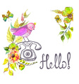 retro graphic phone and watercolor flowers and vector image vector image