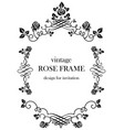 rose black vintage frame vector image