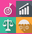 set of business icons in a flat vector image vector image