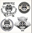 set of vintage motorcycle emblems and labels vector image