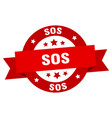 sos ribbon sos round red sign sos vector image vector image