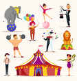 strong man and circus tent meme artist and clown vector image vector image