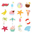 summer icons set on white background for graphic vector image vector image