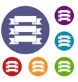 three ribbons icons set vector image vector image