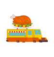 turkey car food truck thanksgiving day fast food vector image vector image