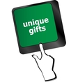 unique gifts events button on the keyboard keys - vector image vector image