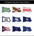 us states flag set - east vector image