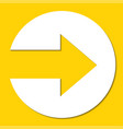 white paper arrow on yellow background vector image vector image