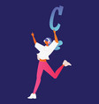 young girl with headphones character with letter c vector image vector image