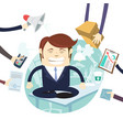 busy tired angry businessman multitasking at desk vector image