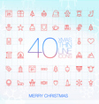 40 Trendy Thin Merry Christmas Icons vector image