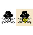 alien head in hat and two weed joints two styles vector image vector image